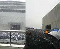東館と、ねこねこのある西4Aゲートを望む。雪が降る